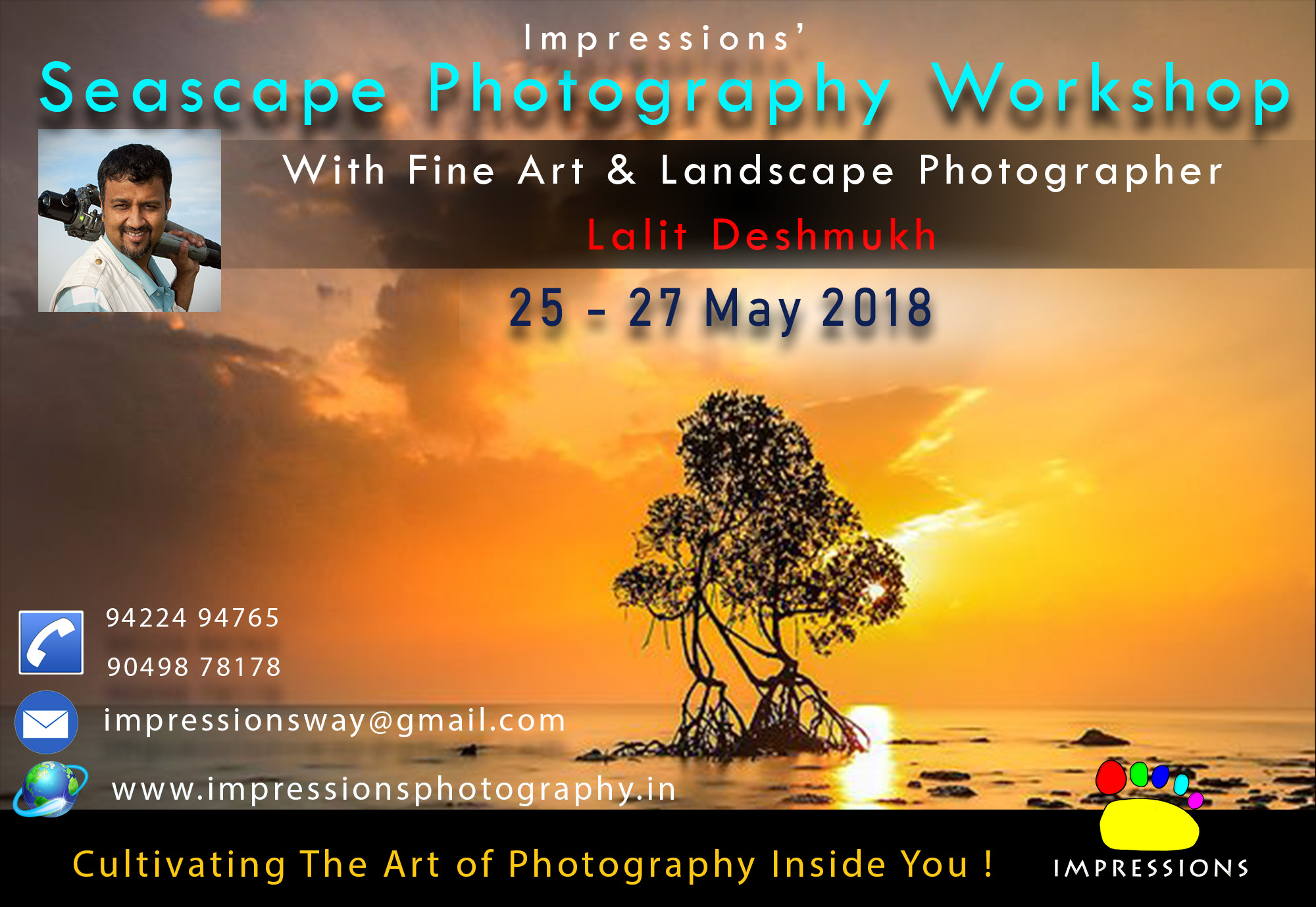 Greetings my fellow Photographer friends or Nature/Travel Enthusiasts! This is Lalit Deshmukh. Every year since 2010, I am taking only one exclusive Seascape Photography Workshop to the beautiful Kokan. This is a combination of learning through workshop and the fun from the travel. I make effort to have it in a different location each year for everyone to come, travel and experience various parts of Kokan and learn as I travel with my participants to the edge of the sea. This year, I plan to stay in Central Kokan area, near Narvan or Hedavi and photograph the coast nearby. My sole intention is to share my secrets related to composition, make you capable of taking long exposures, understanding what to see, visualize, and also take care during the seascape Photography. This is a focused workshop :-) There will be multiple sessions, starting with preparatory session in Pune, on field sessions on the shore, learning and critique sessions when we return to the hotel. We will also be making sure that we have time to have good Maharashtra food, fun and informal gathering of everyone. Stay will be decent, but a typical Kokan style, nothing fancy. :-) Mostly triple sharing. What are the take away from this Photography Tour? :-) Special Insight session on Landscape Photography. Various techniques of Seascape Photography (Long exposures, Moving clouds Crashing waves, Landscape composition). Exploring and Capturing Konkan lifestyle/architecture/village scenes Critiquing sessions and On field photography techniques. Registration: It is simple, you can pay cash or cheque or pay online to reserve your seat. The number of seats are limited and we will book your place, soon as the payment made. Early you do it, better it helps us to manage the logistics. I expect to have only 10 participants. Register by 1. Cash [call and pay fees at office] in Kothrud, Pune 2. Bank Account Details For Online Registration: please message me to get this Dates: 25 to 27 May 2018 Fees: Rs. 8900/ - ( If